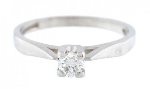 Inel din aur alb, ornat cu diamant solitaire