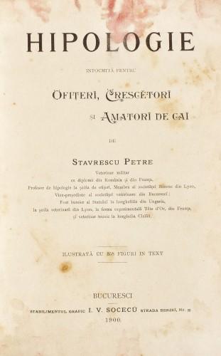 """""""Hipologie"""", de Stavrescu Petre, Bucureşti, 1900"""
