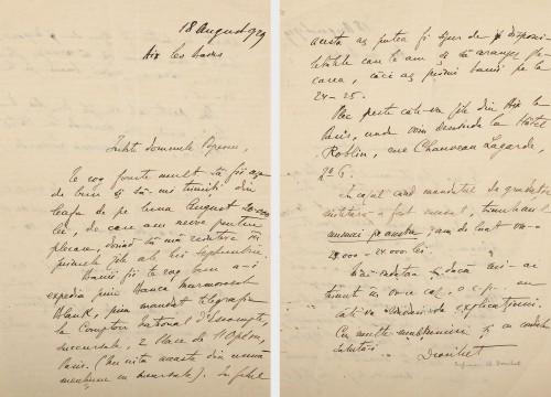 Scrisoare a istoricului literar român Charles Drouhet, purtând semnătura olografă