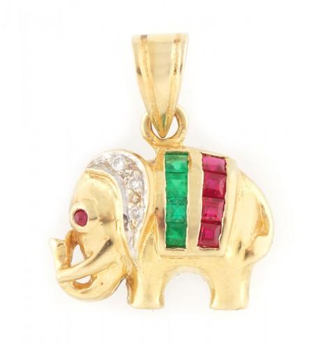 Pandantiv din aur, în formă de elefănțel, decorat cu rubine, smaralde și diamante