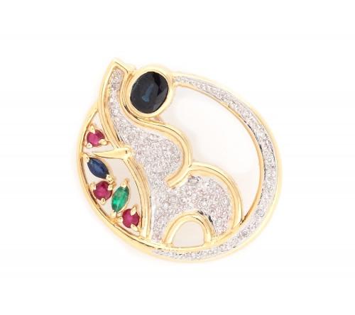"""""""Elefant"""" - pandantiv din aur, decorat cu safire, rubine, smarald și diamante"""