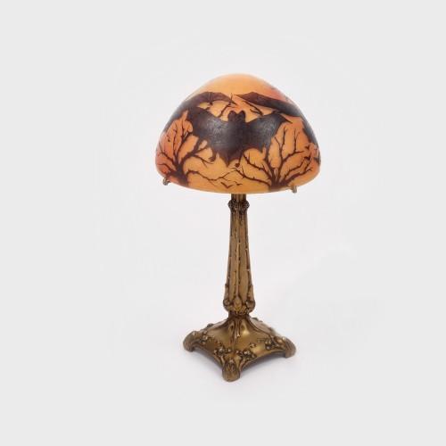 Splendidă lampă de masă Art Nouveau, cu picior din bronz Susse Frères, designer Becker, 1910-1920