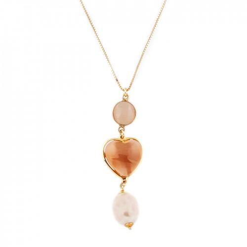 Lanț decorat cu pandantiv fațetat inimă și perlă