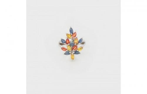 Inel din argint, decorat cu safire multicolore