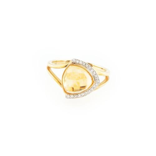 Inel din aur, ornat cu citrin și diamant