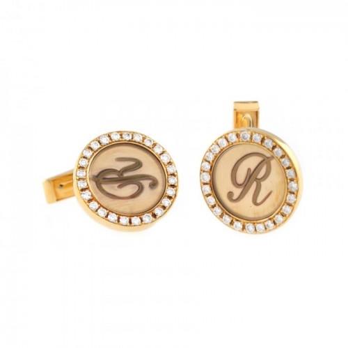 """""""Royal"""" - pereche de butoni circulari, din aur, ornată cu diamante"""