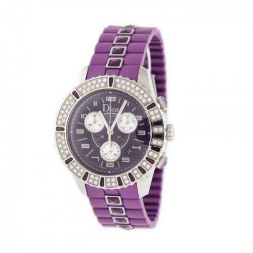 Ceas Dior, de mână, de damă, cu brățară din silicon și bezelul decorat cu diamante [2012]