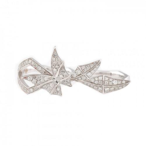 """Faye"" - inel din aur alb, decorat cu un fluture pavat cu diamante"