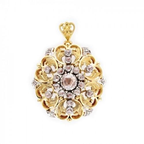 Broșă vintage din aur în două culori, decorată cu diamante