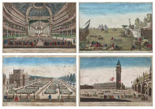 Lot format din patru gravuri ilustrând interioare și piațete, sfârșit de sec. XIX, provine din colecția Prințului Ghica