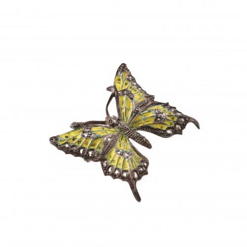 """""""Fluture"""" - Broșă Art Nouveau din argint, decorat cu email plique-a-jour,piesa rara de colectie"""