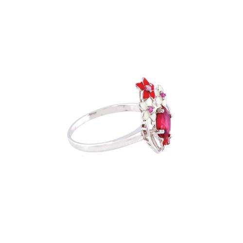 """""""Flori de rubine"""" - inel din argint aurit, decorat cu email si rubin"""