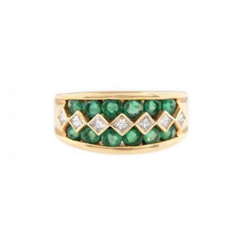 Inel din aur, decorat cu smaralde și diamante