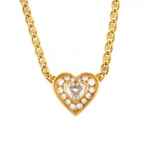 Lanț cu pandantiv-inimă din aur, decorat cu diamante