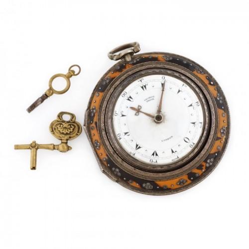 Interesant ceas George Prior, din argint, sistem verge fusee, realizat pentru piața otomană, cca. 1800