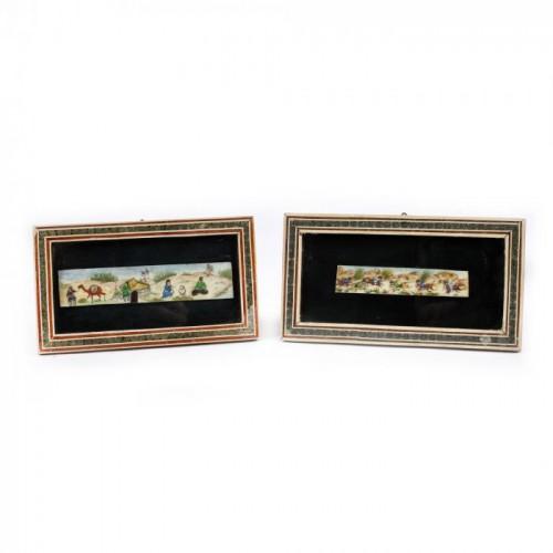 Lot format din două miniaturi, pe fildeș, reprezentând scene de vântoare, Iran, începutul sec. XX