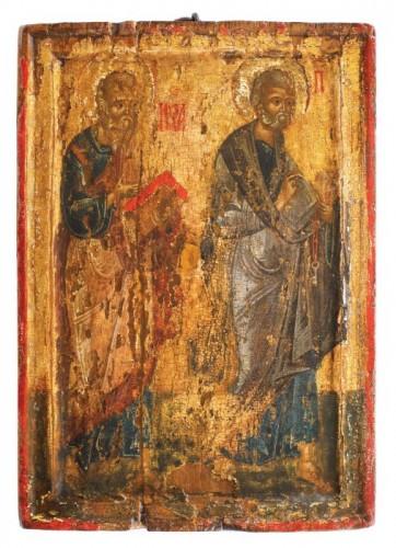 """Icoană pe lemn, """"Sfinții Apostoli Ioan și Petru"""", Țara Românească, prima jumătate a sec. XVI, piesă de colecţie"""