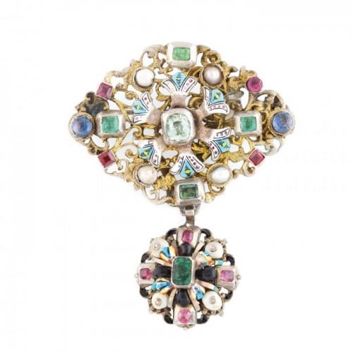 Excepțională broșă Barocă, din argint aurit, decorată cu email, perle, pietre prețioase și semiprețioase, începutul sec. XVIII, piesă muzeală, de colecție