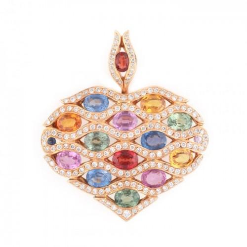"""Mille couleurs"" - festiv pandantiv din aur, ornat cu diamante și safire multicolore"