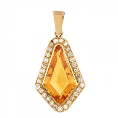 Pandantiv din aur, decorat central cu citrin și diamante