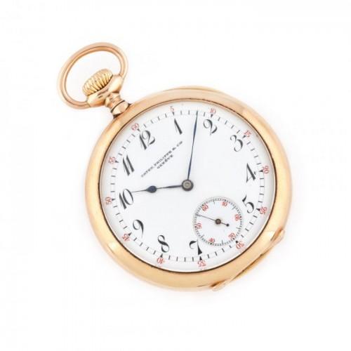 Ceas Patek Philippe, din aur, de buzunar, bărbătesc, realizat special pentru furnizorul Casei Regale, M. Helder, 1891, piesă de colecție, vine însoțit de cutia originală
