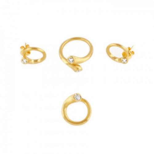 Parure din aur satinat, format din pereche de cercei, pandantiv și inel, ornat cu diamante