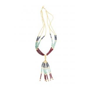 Frumos colier din aur, decorat cu mărgele din safir, rubin și smarald
