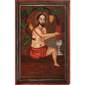 """Icoana pe lemn reprezentându-L pe """"Iisus-Viţă-de-Vie"""", zona Maramureşului, a doua jumătate a sec. XIX"""