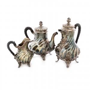 Set compus din ceainice și letieră din argint Leroy & Cie., realizate pentru Jules Piault, sfârșitul sec. XIX