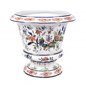 """Monumentală jardinieră din ceramică Rouen, cu decor """"cornul abundenței"""" pictat manual, prima jumătate a sec. XIX"""