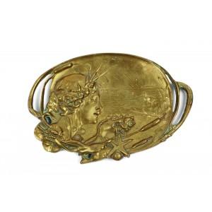 Vide-poche Art Nouveau, din bronz aurit, cca. 1900