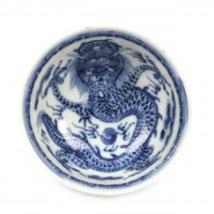 Bol din porțelan, decorat cu motivul dragonului, marcat Xuande, perioada Qing, China, sec. XVIII