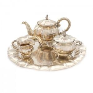 Serviciu din argint, pentru ceai, compus din tavă, ceainic, zaharniță și letieră, perioada interbelică