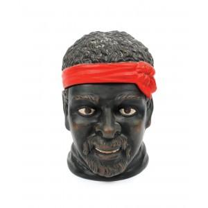 Cutie din ceramică, în formă de cap de african