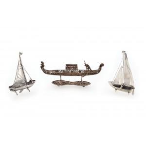 Pereche de miniaturi din argint, ambarcațiuni