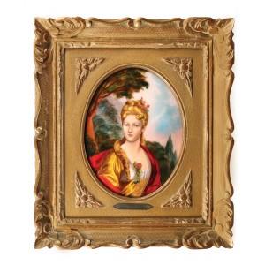 """""""Portretul  domnișoarei Dubois"""" - placă decorativă Limoges,  semnată R. Restoueix, după un tablou de Nicolas de Largillière, prima jumătate a sec. XX"""