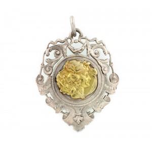 Pandantiv Belle Epoque din aur şi argint, cca. 1900, piesă de autor, design Jules Wiese