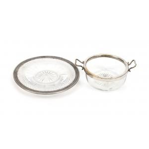 Set format din cupă și farfurioară din cristal, pentru servirea dulceții