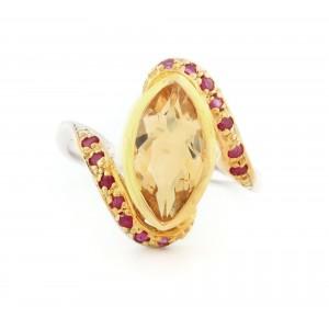 Inel din argint aurit, decorat cu citrin marchiză și rubine
