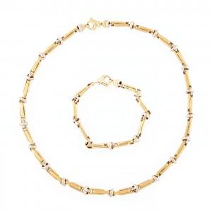 Garnitură formată din colier și brățară din aur în două culori