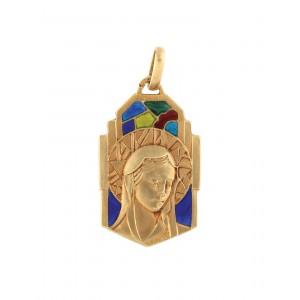 """""""Madona"""" - pandantiv Art Deco din aur, decorat cu email plique-à-jour, cca. 1930, piesă de colecție"""