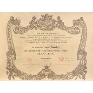 Diplomă de membru al Academiei Tiberiane, acordată lui Corneliu Vadim Tudor