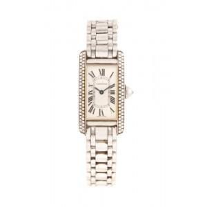 Ceas Cartier Tank Américaine, de mână, de damă, din aur, cu bezelul decorat cu diamante