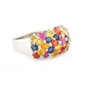 Inel din argint, decorat cu o coroană de safire multicolore