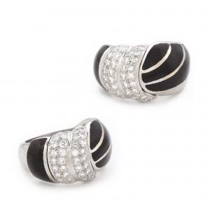 Inel din aur alb, decorat cu diamante și email