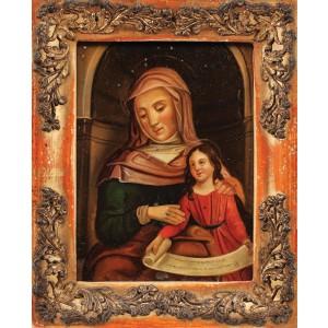 """Icoană pe tablă, """"Maica Domnului cu Pruncul"""", atelier central-european, începutul sec. XX"""