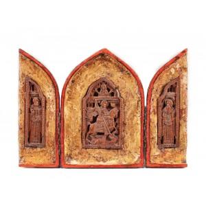 """Triptic, """"Sfântul Gheorghe luptând cu balaurul"""", atelier grecesc, sec. XVII-XVIII"""