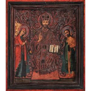 """Icoană pe lemn, """"Deisis"""", atelier românesc, cca. 1870-1880"""