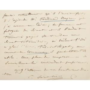 Scrisoare a compozitorului Camille Saint-Saëns, purtând semnătura acestuia