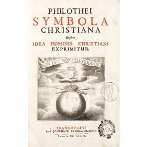 """""""Symbola Christiana"""", de Philothei, Frankfurt, 1677, conţine 100 de gravuri"""
